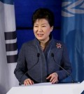South Korean President Park Geun-hye makes a speech at UNESCO headquarters on Dec. 1, 2015 during her visit to Paris. (Yonhap)