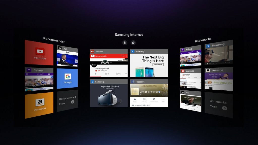A screenshot of Samsung Internet for Gear VR (Photo courtesy of Samsung Electronics)