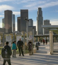 Los Angeles-area students head back to school at the Edward R. Roybal Learning Center in Los Angeles Wednesday, Dec. 16, 2015. Students are heading back to class a day after an emailed threat triggered a shutdown of the vast Los Angeles Unified School District. (AP Photo/Damian Dovarganes)