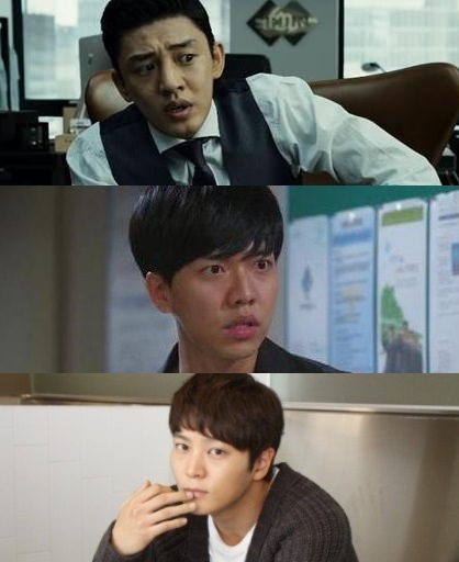 From top, Yoo Ah-in, Lee Seung-gi and Joo Won.