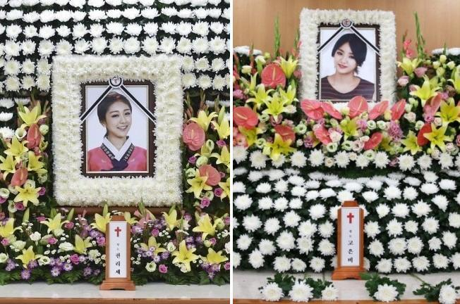 The late Kwon Ri-se, left, and EunB from Ladies' Code.