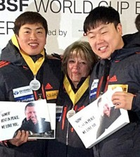 Won, left, and Seo dedicated their historic victory to late national team coach Malcolm Lloyd, who passed away earlier this month. (Photo released by the Korea Bobsleigh & Skeleton Federation / Yonhap)