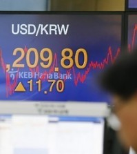 An electronic signboard at KEB Hana Bank in Seoul shows the closing exchange rate of the South Korean won on Jan. 11, 2016, which ended at 1,209.80 against the U.S. dollar. The local currency fell to 1,210 won per greenback during trading, the lowest in 5 1/2 years, as cross-border tension on the Korean Peninsula and China's market shock discouraged investors. South Korean shares lost 1.19 percent. (Yonhap)