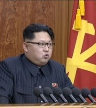 In this image captured from North Korea's Korean Central Television on Jan. 1, 2016, North Korean leader Kim Jong-un delivers a New Year's address live in Pyongyang. Kim called for improved relations with South Korea, saying that he is open to talks with Seoul in an open-minded manner for unification. (Yonhap)