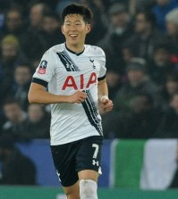 Tottenham's Son Heung-Min after scoring during the English FA Cup third round soccer match between Leicester City and Tottenham Hotspur at the King Power Stadium in Leicester, England, Wednesday, Jan. 20, 2016. (AP Photo/Rui Vieira)