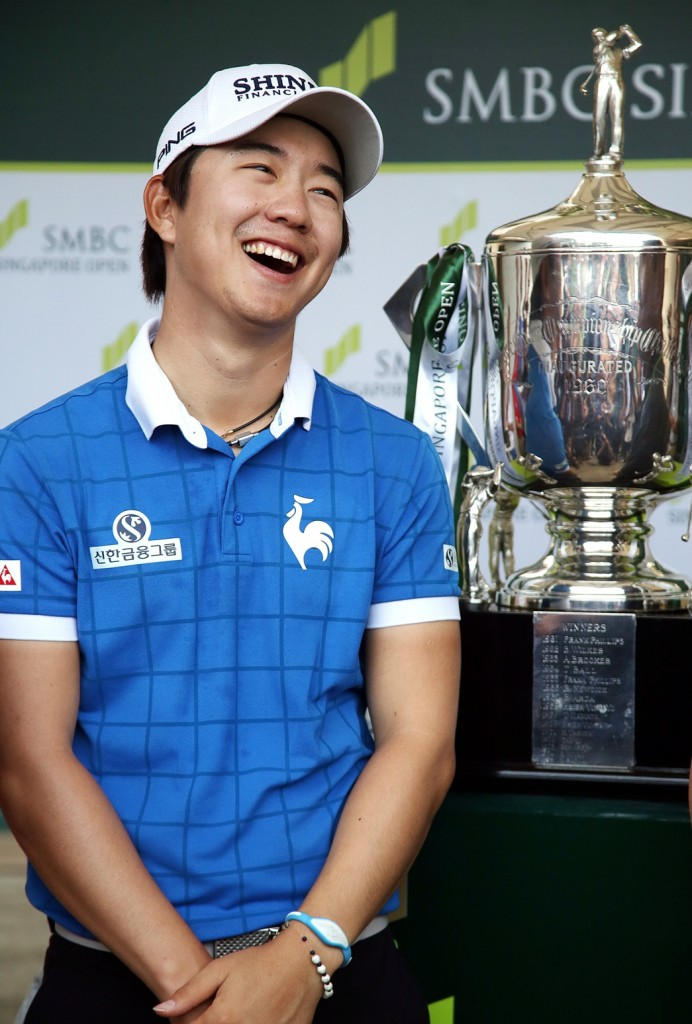 Song Younghan smiles during an interview after winning the SMBC Singapore Open golf tournament at Sentosa Golf Club's Serapong Course on Monday, Feb. 1, 2016, in Singapore. (AP Photo/Wong Maye-E)