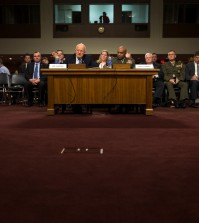 Director of National Intelligence James Clapper, left, accompanied by Defense Intelligence Agency Director Lt. Gen. Vincent Stewart, testifies on Capitol Hill in Washington, Tuesday, Feb. 9, 2016, before a Senate Armed Services Committee hearing on worldwide threats. (AP Photo/Evan Vucci)