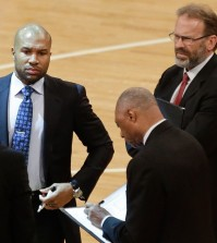 Derek Fisher, left, has been replaced by Kurt Rambis, right, as the head coach of the New York Knicks. (AP, file)