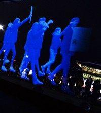 """A """"ghost rally"""" using holographic images ( Korea Times photo by Shim Hyun-chul)"""