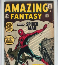 In this undated photo provided by Heritage Auctions in Dallas, Texas, shows a 1962 Amazing Fantasy #15 by Marvel Comics. The rare copy of a comic book featuring the first appearance of Spider-Man has sold at auction by Heritage for over $454 Thousand on Thursday, Feb. 18, 2016. (Heritage Auctions via AP)