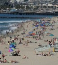 Swimmers and sunbathers gather at Redondo Beach, Calif., on Presidents Day, Monday, Feb. 15, 2016, as Southern California baked in summer-like heat. (AP Photo/John Antczak)