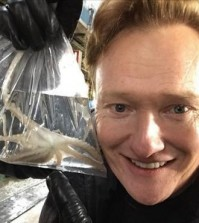 "A photo shared by Conan O'Brien on Instagram on Feb. 15, 2016 with the comment ""Went to the fish market today and bought a pet octopus. I named him Samuel. #ConanKorea #southkorea #travel."" (Yonhap)"