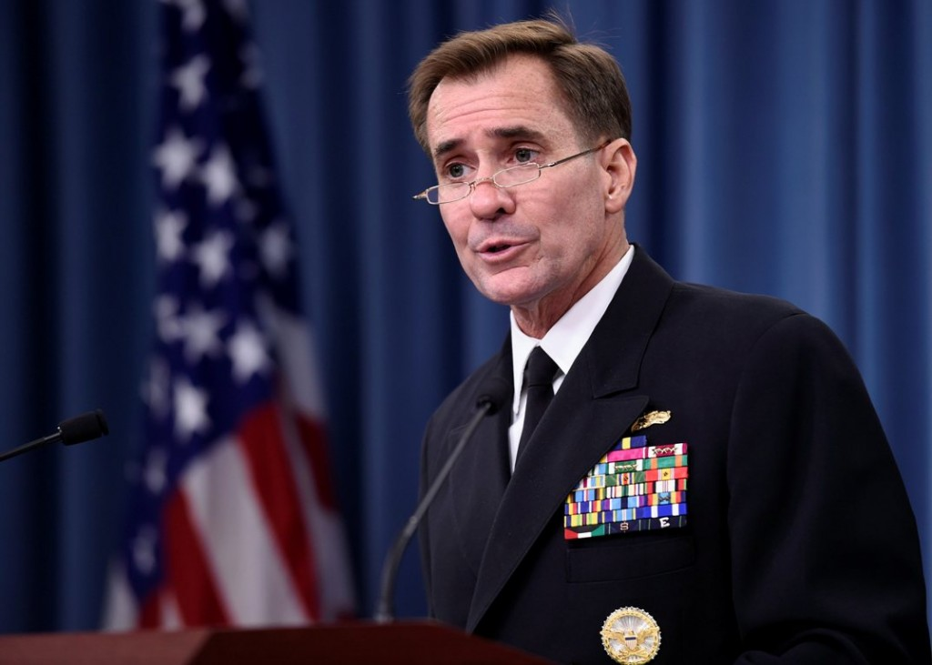 Pentagon press secretary Navy Rear Adm. John Kirby speaks during a briefing at the Pentagon, Tuesday, Sept. 2, 2014. The Pentagon says the leader of the Somalia-based al-Shabab extremist group was the target of U.S. military airstrikes that struck an encampment and a vehicle Monday night. Kirby said the results of the strike are being assessed and he can't confirm if Somali Ahmed Abdi Godane, the rebel leader, was hit.  He says the strike against Godane was conducted by special operations forces with manned and unmanned aircraft firing hellfire missiles and precision-guided munitions.  (AP Photo/Susan Walsh)
