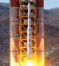A North Korean long-range rocket is launched into the air at the Sohae rocket launch site, North Korea, Feb. 7, 2016. ( Yonhap)