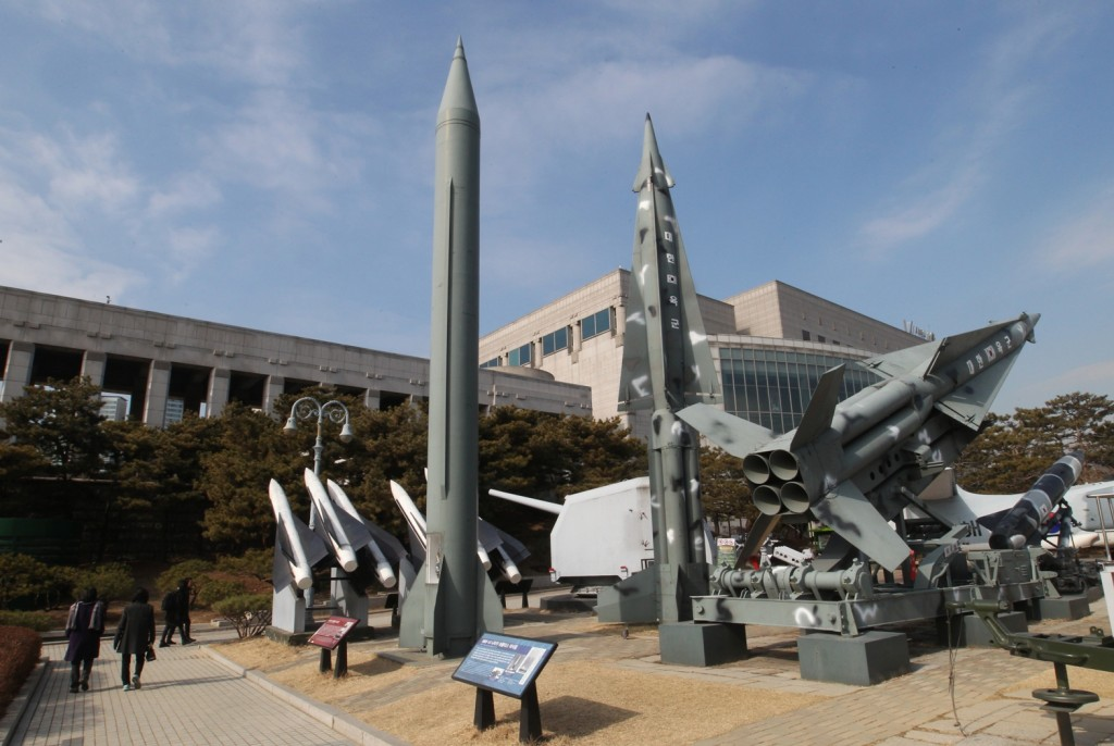 """A mock Scud-B missile of North Korea, left, and other South Korean missiles are displayed at the Korea War Memorial Museum in Seoul, South Korea, Wednesday, Feb. 3, 2016. South Korea warned on Wednesday of """"searing"""" consequences if North Korea doesn't abandon plans to launch a long-range rocket that critics call a banned test of ballistic missile technology.(AP Photo/Ahn Young-joon)"""