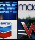 This combination of file photos shows logos for IBM, Macy's, Chevron and Starwood Hotels and Resorts group's W Hotel Hollywood. Big companies have lost billions buying their own shares. Nearly half the companies in the Standard and Poor's 500 index paid more for their shares in the past three years than they are worth, according to analysis by The Associated Press. Retailer Macy's is down $1.4 billion on its purchases, a 24 percent loss. As the price of oil plunged, driller Chevron lost $3.3 billion betting on its stock, a 33 percent loss. Starwood Hotels & Resorts Worldwide has lost hundreds of millions on buybacks, more than a fifth of what it spent. IBM has the biggest losses from buybacks, down $5.5 billion. (AP Photo)