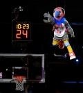 Los Angeles Clippers new mascot, a California Condor named Chuck, comes down from the rafters after being introduced during halftime of an NBA basketball game between the Clippers and the Brooklyn Nets, Monday, Feb. 29, 2016, in Los Angeles. (AP Photo/Mark J. Terrill)