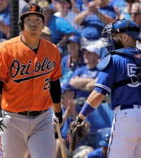Baltimore Orioles' Kim Hyun-soo, of South Korea, reacts after getting called out on strikes as Toronto Blue Jays' Jesse Chavez get set to toss the ball to the pitcher during the first inning of a spring training baseball game Tuesday, March 15, 2016, in Dunedin, Fla. Catching for the Blue Jays is Russell Martin (55). (AP Photo/Chris O'Meara)