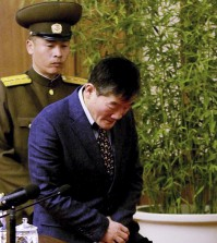 Kim Tong Chol, a U.S. citizen detained in North Korea, is presented to reporters in Pyongyang, North Korea on Friday, March 25, 2016. North Korea presented another American detainee before the media on Friday, nine days after it sentenced a U.S. tourist to 15 years in prison with hard labor for subversion. Kim told in Pyongyang that he had collaborated with and spied for South Korean intelligence authorities in a plot to bring down the North's leadership and tried to spread religious ideas among North Koreans. (AP Photo/Kim Kwang Hyon)