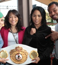 Kim Messer-Caminschi, second from left, has worked closely with Shane Mosley.