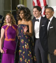President Barack Obama and first lady Michelle Obama greet Canadian Prime Minister Justin Trudeau and Sophie Grégoire Trudeau at the North Portico of the White House in Washington, Thursday, March 10, 2016, for a state dinner.   (AP Photo/J. Scott Applewhite)