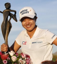 Kim Sei-young, of South Korea, poses with the trophy after winning the JTBC Founders Cup golf tournament, Sunday, March 20, 2016, in Scottsdale, Ariz. (AP Photo/Rick Scuteri)