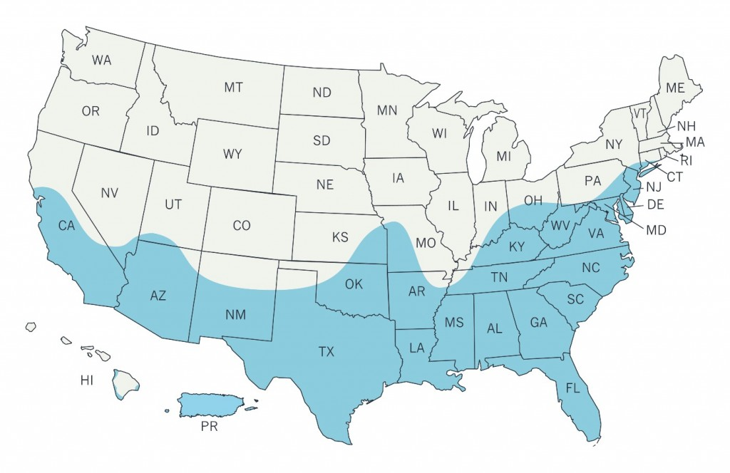 This image made available by the Centers for Disease Control and Prevention on Wednesday, March 30, 2016 shows a map of the United States with an estimated range of the Aedes aegypti mosquito for 2016 indicated in blue. On Wednesday, federal health officials said the mosquitoes, including the Aedes aegypti, that can transmit the Zika virus may live in a broader swath of the U.S. than previously thought _ but that doesn't mean they'll cause disease here. (CDC via AP)