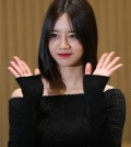 "Singer Hyeri at the press conference promoting her upcoming SBS TV series ""Entertainer"" on April 19, 2016."