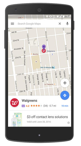 """This screen grab provided by Google shows an ad called a """"promoted pin,"""" which highlights a Walgreens along a route on Google Maps. Google has displayed text ads alongside its online maps for several years. But the change announced Tuesday, May 24, 2016, marks the first time the Internet company has inserted the equivalent of a digital billboard into the directions map itself. (Google via AP) MANDATORY CREDIT"""