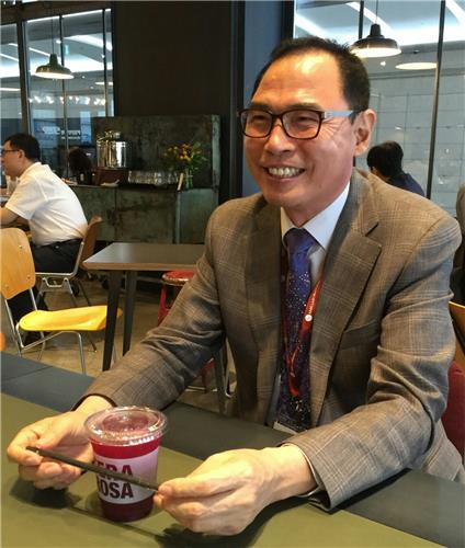 7 2016 Youn Joo-taek chairman of the International Beauty Industry Trade Association, smiles during an interview with Yonhap News Agency at a coffee shop near COEX hall where the country's sole cosmetics ingredient