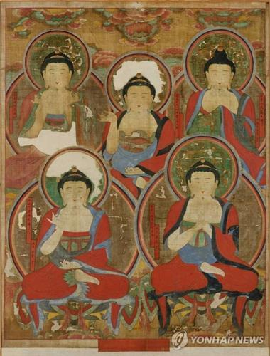 """The Obuldo,"" an 18th-century Korean painting of Five Buddhas. Its American owner Robert Mattielli will return it to South Korea next year as it was belatedly discovered that the work had been stolen from Buddhist temple Songgwangsa in South Korea's southwestern city of Suncheon, in the early 1970s. (Photo courtesy of Korean Cultural Heritage Administration)"