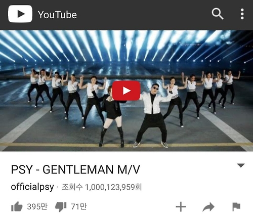 Psy's 'Gentleman' music video surpasses 1 bln views – The
