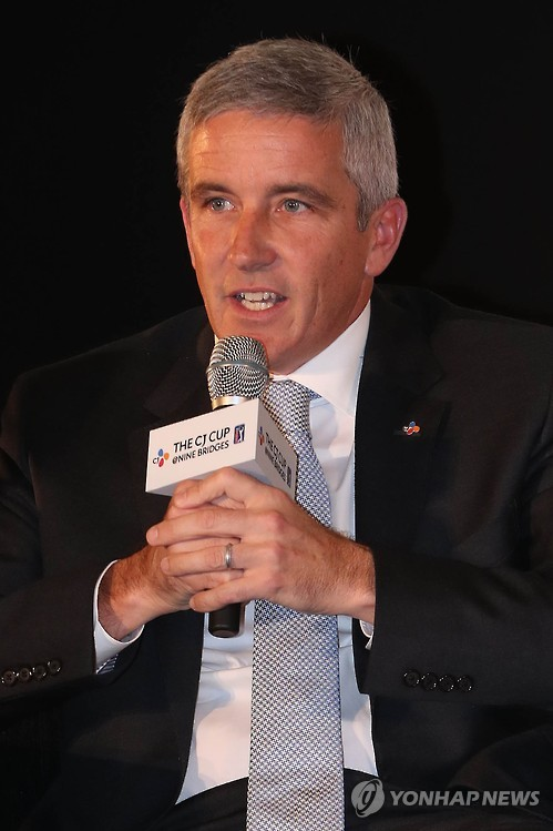 Jay Monahan, deputy commissioner of the PGA Tour, speaks at a signing ceremony with CJ Group on a new PGA event in South Korea, the CJ Cup@Nine Bridges, on Oct. 24, 2016, in Seoul.