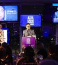 This image, provided by S.M. Entertainment, shows Lee Soo-man, the founding chairman the talent agency, giving an award speech at the 2016 Asia Game Changer Awards ceremony held at United Nations headquarters in New York on Oct. 27 (local time). Lee receives a prestigious award from U.S. non-profit organization Asia Society for his role in the globalization of K-pop.