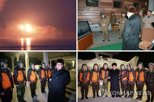 North Korean leader Kim Jong-un observes a night combat flight drill by fighter pilots in this photo unveiled by the Rodong Sinmun, North Korea's main newspaper on Dec. 21, 2016. (For Use Only in the Republic of Korea. No Redistribution)