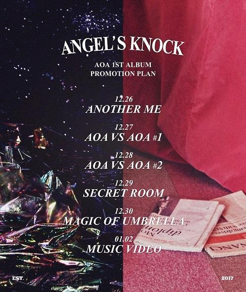 "Provided by FNC Entertainment, the promotional poster for AOA's upcoming LP ""Angel's Knock"" was released on Dec. 21, 2016."