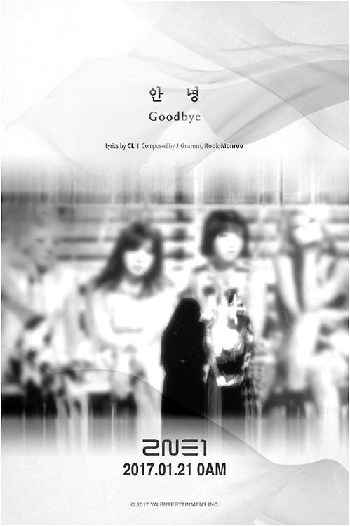 "This image, provided by YG Entertainment, is a promotional poster for South Korean girl group 2NE1's single track ""Goodbye."""