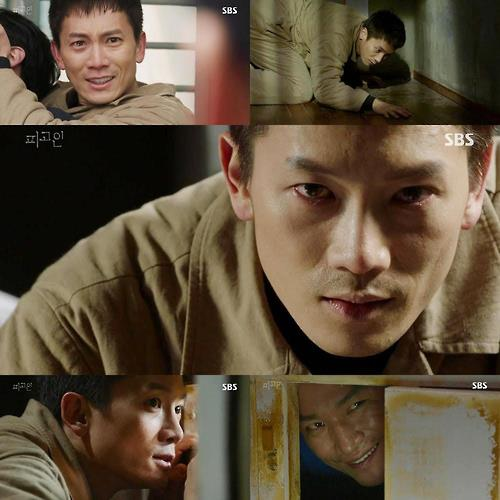 "This composite photo captured from SBS TV's ""Defendant"" shows actor Ji Sung as a former prosecutor framed for the murder of his daughter and wife and now a death row prisoner"