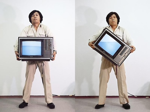 "The image provided by Gallery Hyundai shows Park Hyun-ki's ""Video Inclining Water,"" a video performance by the artist himself in 1979."