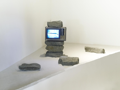 "The image provided by Gallery Hyundai shows Park Hyun-ki's ""Untitled"" in 1982, made of stone and monitor."