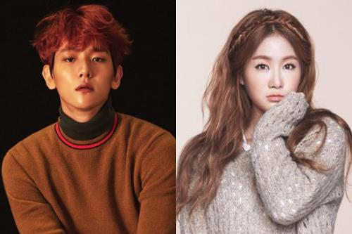 This composite photo provided by Starship Entertainment shows EXO's Baekhyun (L) and Sistar's Soyou.