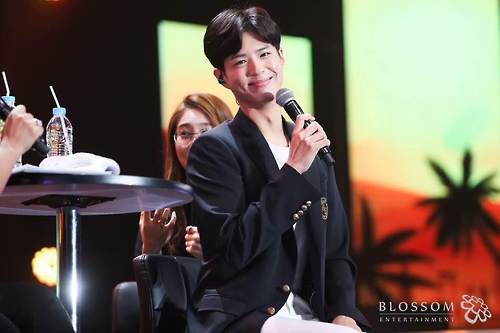 This photo provided by Blossom Entertainment shows Park Bo-gum attending a fan meeting in Bangkok on Feb. 11, 2017.