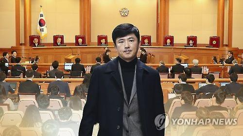 This image taken from Yonhap News TV shows Ko Young-tae against the background of the main courtroom of the Constitutional Court in Seoul.