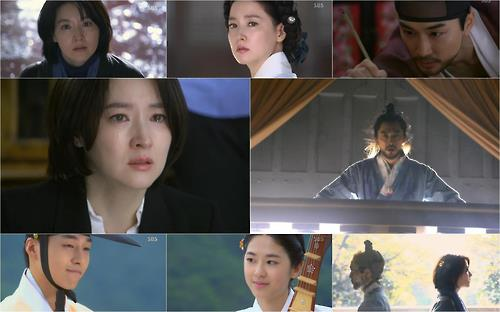 "This composite image captured from SBS TV's ""Saimdang, Memoir of Colors"" shows the series' main cast."