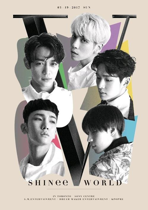 "The image provided by S.M. Entertainment shows the concert poster for ""SHINee CONCERT-SHINee WORLD V."""