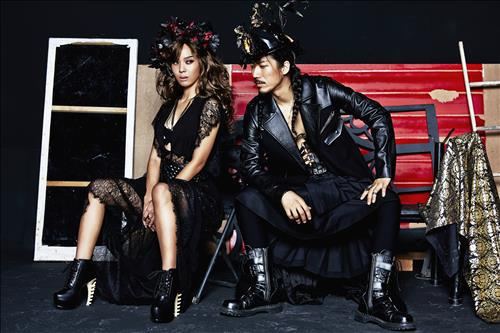 This undated photo provided by Feel Good Music shows hip hop artists Yoon Mi-rae (L) and Tiger JK (R) posing for the camera.