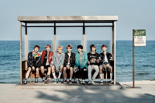 BTS members are shown in this undated promotional image provided by Big Hit Entertainment.
