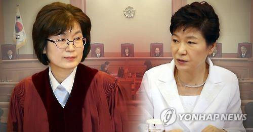 This image shows President Park Geun-hye (R) and Lee Jung-mi, acting chief of the Constitutional Court.