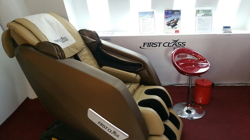 This photo, taken on March 14, 2017, shows a massage chair installed at First Class Co.'s healing cafe in Seoul.