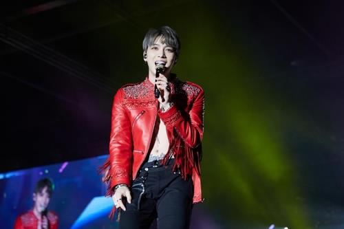 This undated photo provided by C-JeS Entertainment shows Kim Jae-joong performing. (Yonhap)